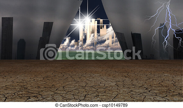 Grime cityscape pulled away to reveal glorious gleaming city beyond - csp10149789