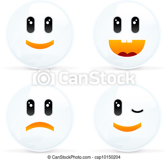 Set Of Cheerful And Sad Smiles - csp10150204