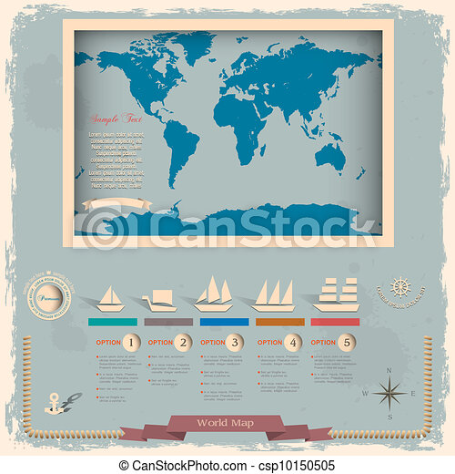 Retro style world map with nautical design elements - csp10150505