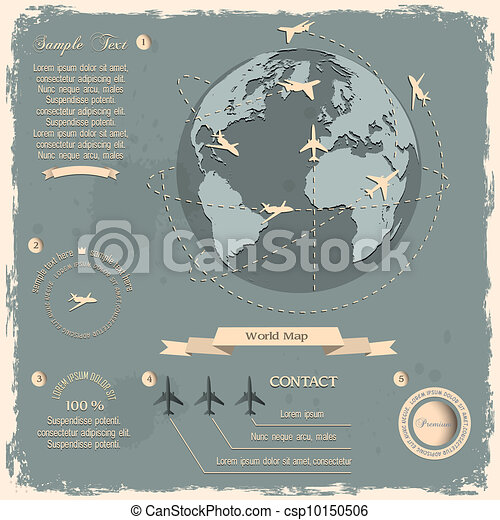Retro style design with aircrafts and Globe - csp10150506