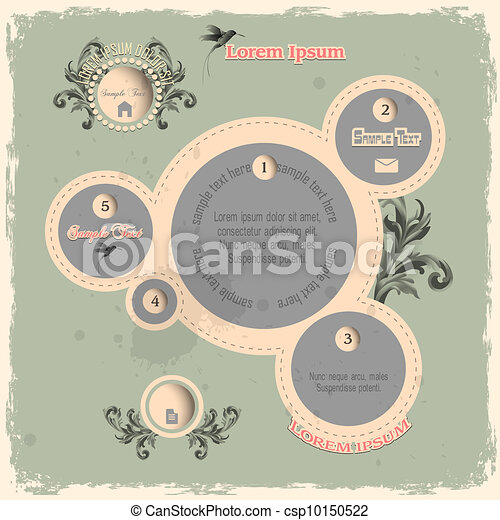 Web design bubbles in vintage style - csp10150522