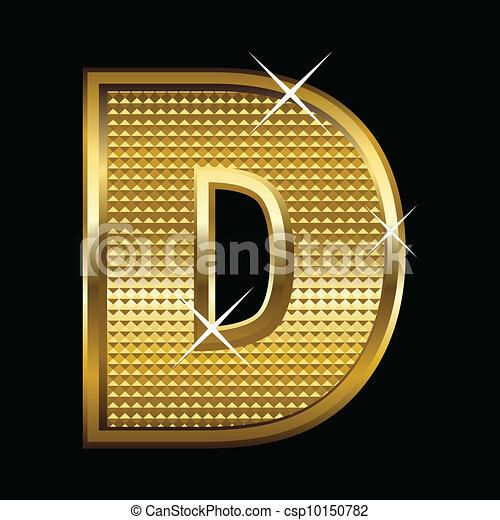 Golden font type letter D - csp10150782