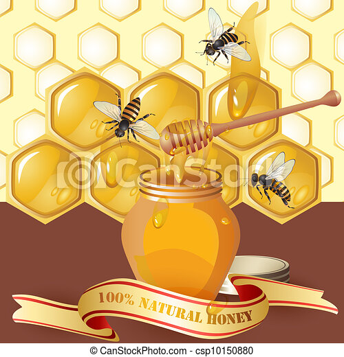 Jar of honey with wooden dipper - csp10150880