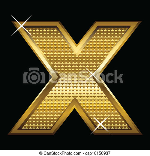 Golden font type letter X  - csp10150937