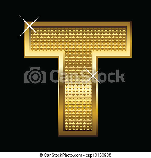 Golden font type letter T - csp10150938