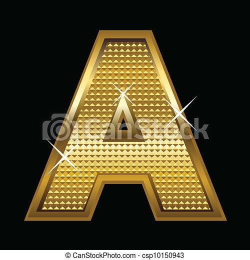 Golden font type letter A - csp10150943