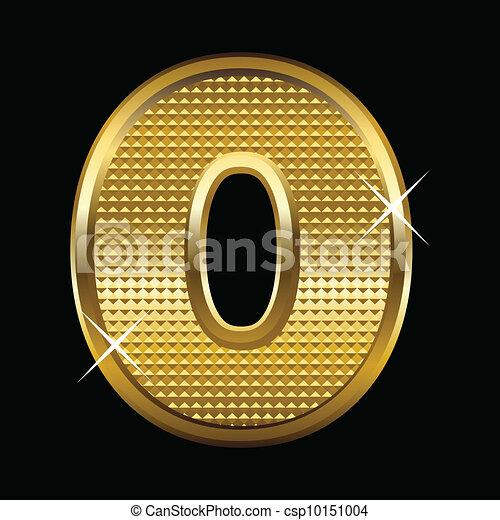 Golden font type letter O - csp10151004