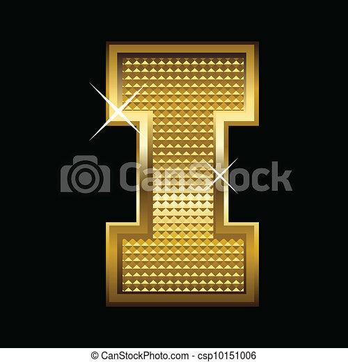 Golden font type letter I  - csp10151006