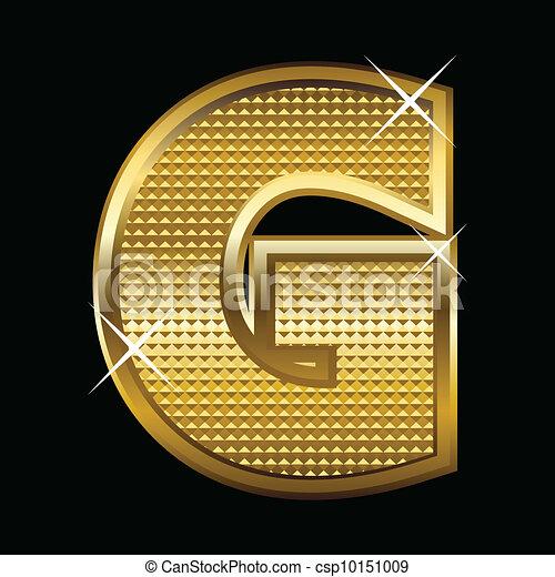 Golden font type letter G  - csp10151009