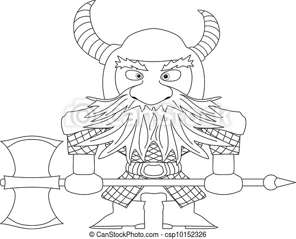 Dwarf warrior, contour - csp10152326