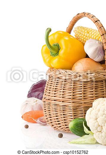 蔬菜, 健康, 被隔离, 食物, 籃子, 白色 - csp10152762