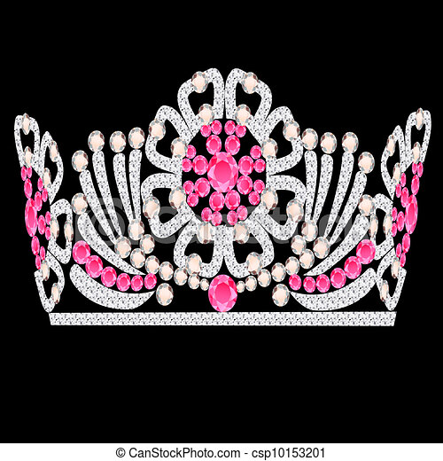 diadem crown feminine wedding with rose stone - csp10153201