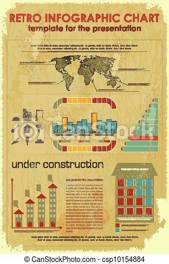 Retro Infographic Chart with construction icons - csp10154884