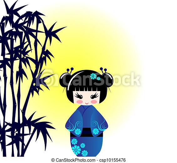 Kokeshi doll and bamboo  - csp10155476