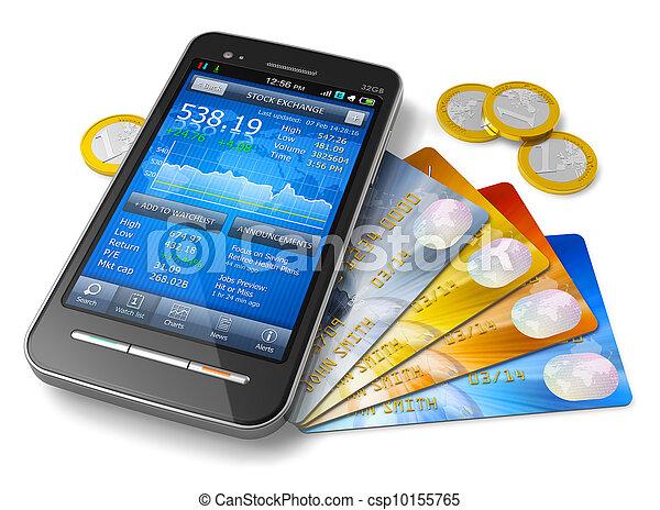 mobil, bankrörelse, begrepp, finans - csp10155765