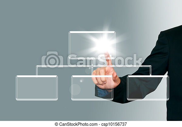 Business man pressing transparent button on the digital screen background, organization chart