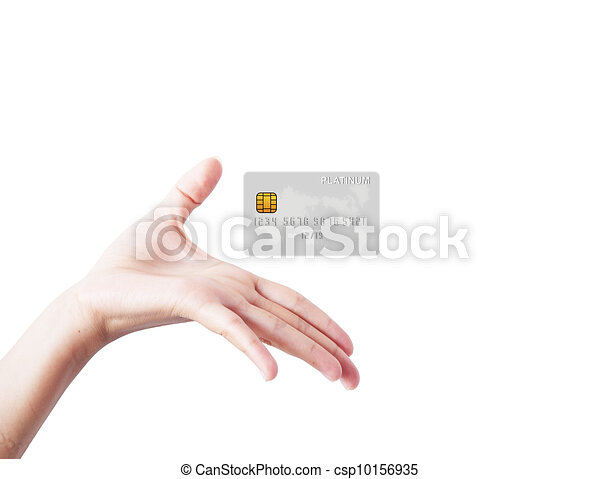 Welcome hand showing card, isolated on a white background. - csp10156935