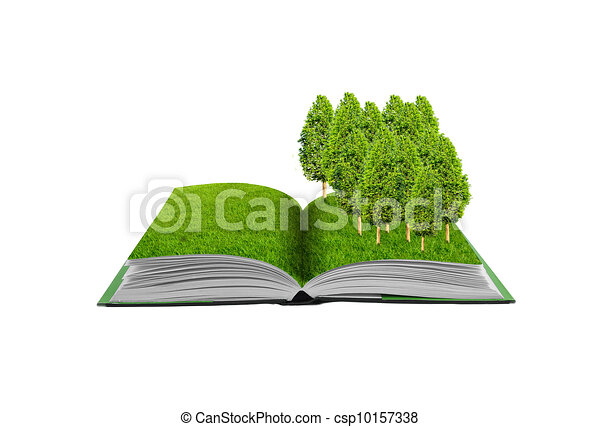 Small treel green grass field, eco  conceptual idea - csp10157338