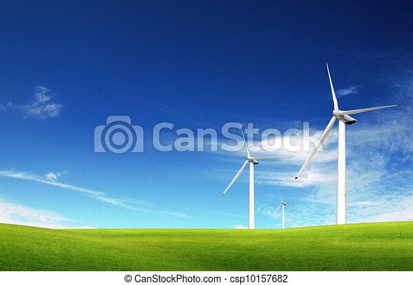 verão, moinhos vento, capim, campo verde - csp10157682