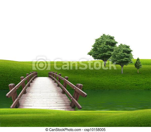 bridge in the woods across the river  - csp10158005