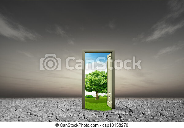 Door open to the new world, for environmental concept and idea - csp10158270