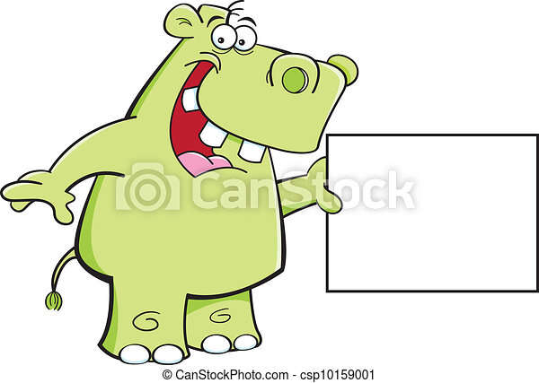 Hippo with a sign - csp10159001