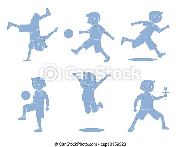 Boys Activity silhouette - csp10159323