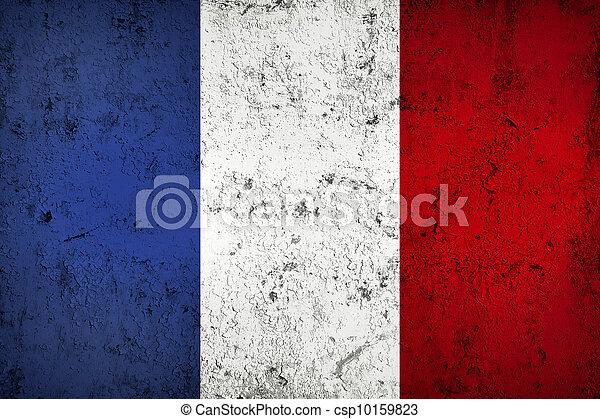 Fahne,  Grunge, franzoesisch, verwittert, dreckige - csp10159823