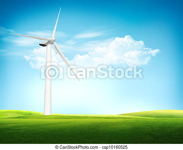 Beautiful green meadow with Wind turbines blue sky - csp10160525