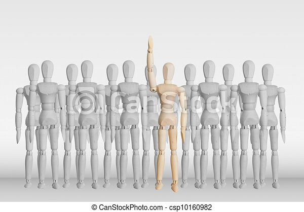Wooden model in the crowd for human resource and question concept - csp10160982
