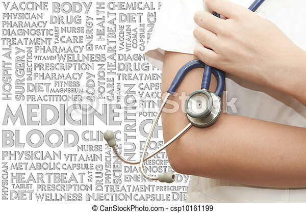 Doctor handle stethosocope on the word cloud, medical concept