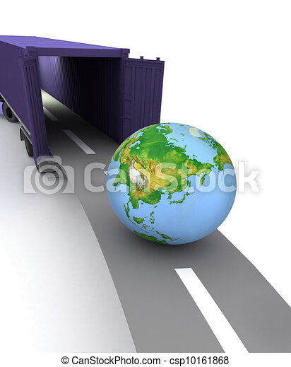Container with open doors and a globe. We offer international transportation. - csp10161868