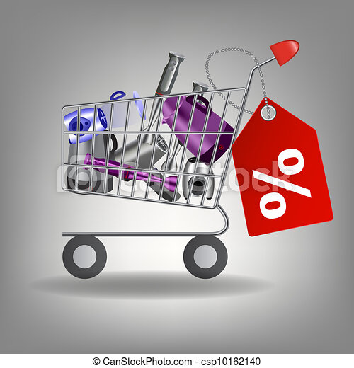 Vector illustration of   supermarket shopping cart with kitchen tools - csp10162140