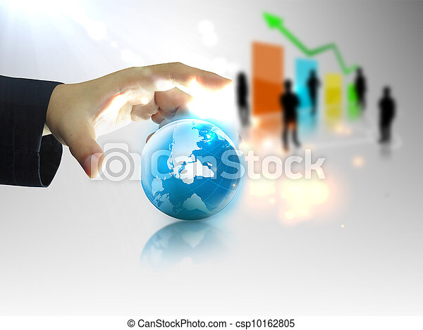 Businessman holding business world - csp10162805
