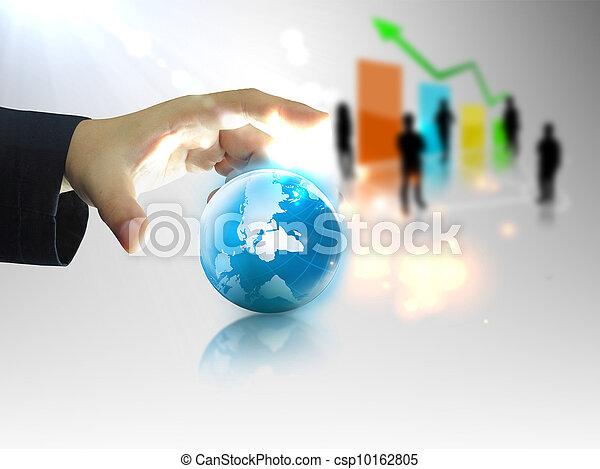Businessman holding business world - csp10162805