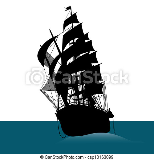 Old sailing ship silhouette  - csp10163099