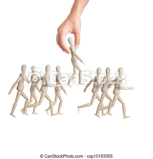 Hand choosing the perfect candidate for the job. Human resource concept - csp10163355