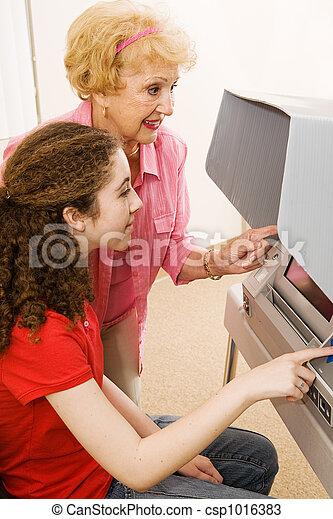 Volunteer Helps Voter - csp1016383
