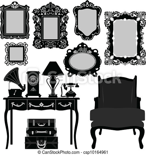 Clip Art Vector of Antique Picture Frame - A set of ...