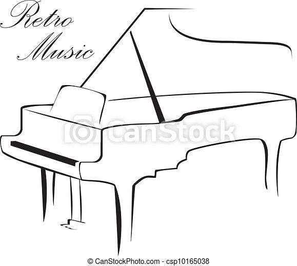 鋼琴, 黑色半面畫像 - csp10165038