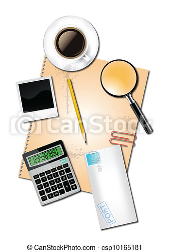 Calculator and office supplies - csp10165181