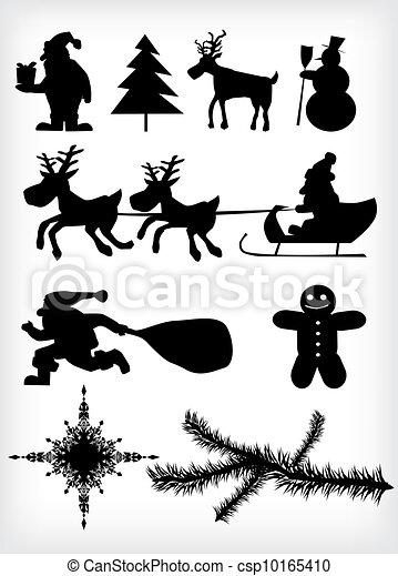 vektor clip art von weihnachten silhouette csp10165410. Black Bedroom Furniture Sets. Home Design Ideas