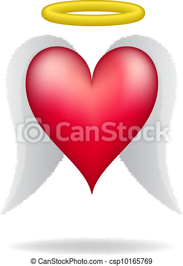 Clip Art Vector of Heart with wings and halo on white ...