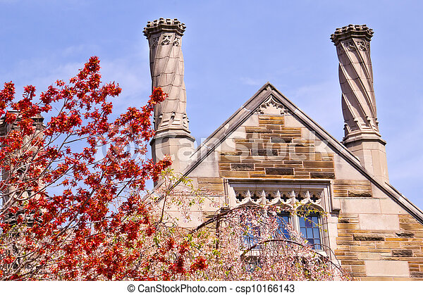 Yale University Sterling Law Building Red Leaves - csp10166143
