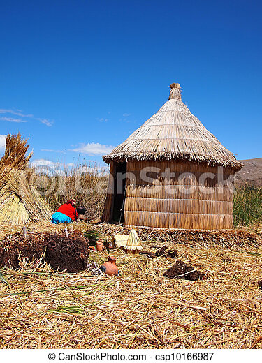 Reed hut on the floating Uros islands - csp10166987