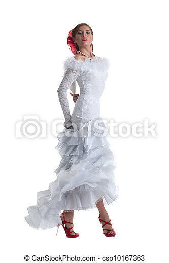 Pretty woman in white dress performing flamenco - csp10167363