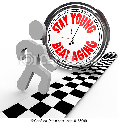 Stay Young Beat Aging Race Against Time Clock - csp10168099
