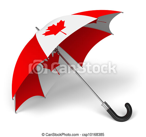 Umbrella with Canadian national flag - csp10168385