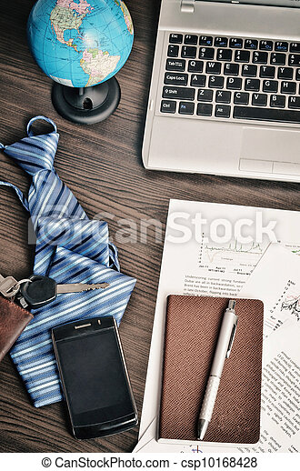 Office desk arrangement of professional business worker. Business still life conceptual shot. - csp10168428