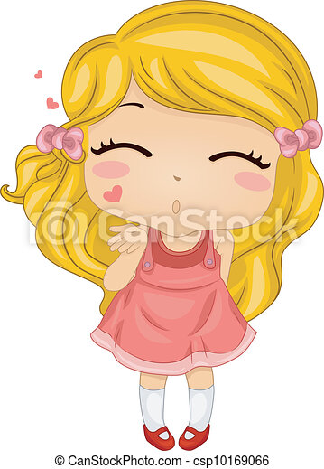 Clip Art Vector Of Flying Kiss - Illustration Featuring A Girl Blowing A Flying... Csp10169066 ...